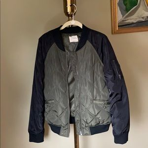 Olive/ Army Green Bomber Jacket with Black Sleeves